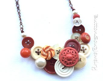 Burnt Orange and Creamy White Vintage Button Necklace with Copper Chain