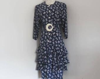 Vintage dress 3/4 Length Sleeve Dress Ruffled dress by Perceptions size 9/10 Ladies dress