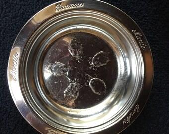 "Dionne Quintuplet Bowl Carlton Silverplate 6""  Emilie Yvonne Annette Cecile Marie"