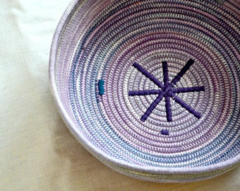 Hibiscus dyed rope basket. Cotton coiled basket. Rope fruit basket.