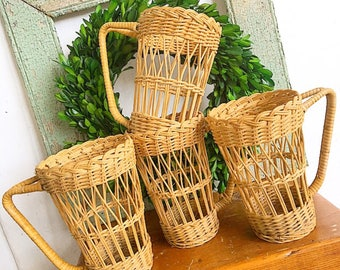 Tip Your Cup... Vintage Wicker Drinking Glass Covers Holders Cozies Barware Rustic Farmhouse Bohemian Outdoor Indoor Cup Holders