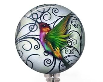 Retractable ID Badge Reel Hummingbird on White Background - Name ID Badge -367