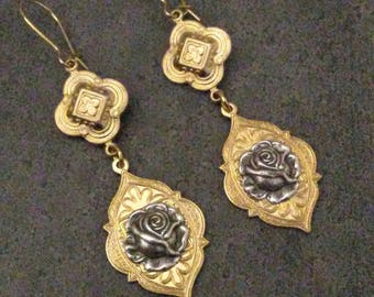 Vintage Roses Earrings Silver Rose  Bohemian Gold Mixed Metals Jewelry  By Red Gypsy Jewelry