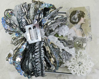 Sweet Petite Snippets...Silver, Black, White...Mini Embellishment Inspiration Kit, snippet rolls, gift tags,cards,ATC,collage,crazy quilting