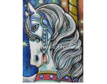 ACEO, Original, Colorful Carousel Horse