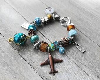 Charm Bracelet, Travel Charms, Beaded Charm Bracelet, European Charm Bracelet, Silver Charm Bracelet, Travel, Travel With Me Charm Bracelet