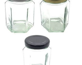 1 pc 3.75 oz (110 ml) Glass Hexagon Jar with your color lid: Gold, White, Black - Jam, Jelly, Honey, Spice, Favor Jars