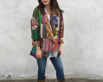 Stunning silk kantha patchwork kimono jacket