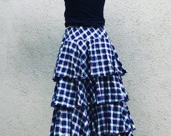 Cotton plaid layered boho skirt