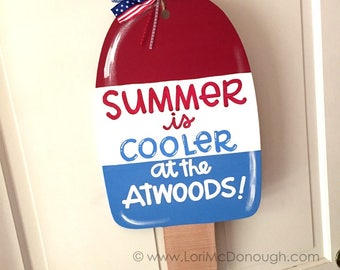 Patriotic Popsicle Summer Door Hanger