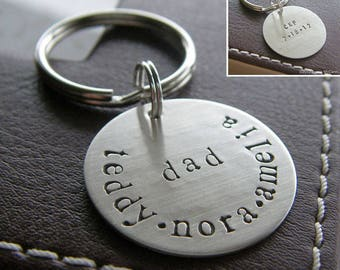 Custom Keychain - Personalized Hand Stamped Sterling Silver Key Chain - Double-Side Stamping - Perfect Gift for Father's Day