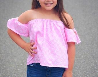 SALE Girls Off Shoulder Top Dress sewing tutorial PDF newborn through 16 teen girls
