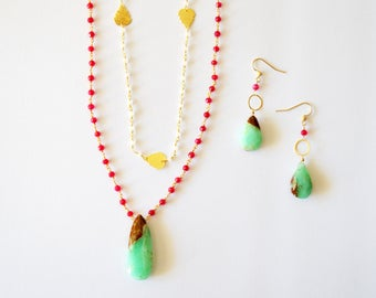 Modern Double Layer Necklace Earring Set / 14k Gold Filled Necklace Set with Mint Green Brown Chrysophase Fuchsia Chalcedony Gemstones