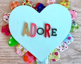 ADORE Valentine Art-- Mixed Media Wood and Fabric Wall Decor