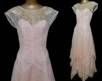 Vintage Flapper Style Dress, 1980s Pink Chantilly Lace Dropped Waist Tiered Handkerchief High Low Hem Garden Party Dress, Size S Small