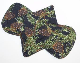 """8"""" Heavy - Pine Cones - Reusable Cloth Menstrual Pad (8HC)"""