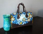 Hello Octopus large Blanche Barrel Bag, shoulder bag, detachable strap, Heather Bailey fabric and vinyl handbag, unique purse
