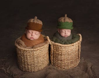Acorn Hat/Autumn/Winter/Green or Brown Nut/0-3 Months - Adult Szs