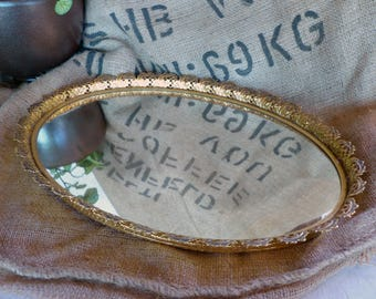 """Oval Intricate Brass Gold Plated Large 16"""" Mirrored Vanity Tray"""