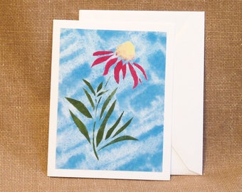 Note Card - All Occasion Card - Hand Stencilled Card - Blank Inside - Notecard - Floral Note Card - Cone Flower Stencil - Red Coneflower