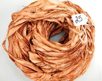 Sari Silk Ribbon, Silk Sari Ribbon, Rust orange Ribbon, orange sari ribbon, Fall ribbon, weaving supply, knitting supply, crochet supply