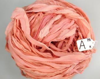 CHIFFON sari ribbon, Recycled Silk Chiffon ribbon, peach blush sari ribbon, tassel supply, knitting supply, weaving supply
