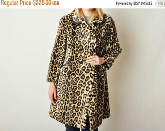 ON SALE Vintage Faux Fur Ocelot Coat