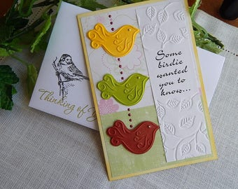 Handmade Thinking of You Card: birdie, greeting card, get well, larger card, ooak, yellow, green, complete card, handmade, balsampondsdesign