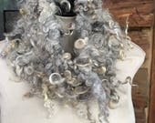 Cowl hand knit, extra long sheep locks, spectacular cowl  handspun yarn