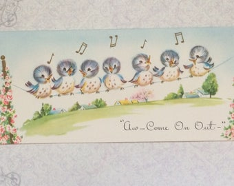 Vintage Greeting Cards never used Singing Blue Birds Get Well Soon Card made in USA-Unused with Envelope