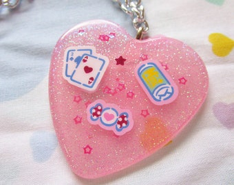 80s necklace, Fresh Punch fairy kei resin jewelry 90s accessories candy chunky glitter statement
