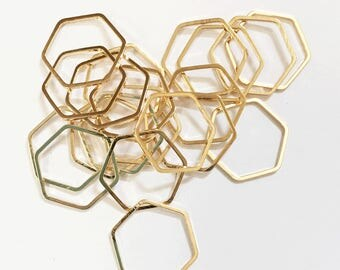 Bulk 100 pcs of Light Gold plated brass double sided  Hexagon connector 16x18mm, bulk gold  linking connector