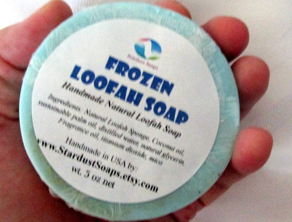 Frozen Loofah Bar soap (Handmade, luxurious, moisturizing, exfoliates, for all skin types, gift soap, Large Full size 5 oz) Stardust Soaps