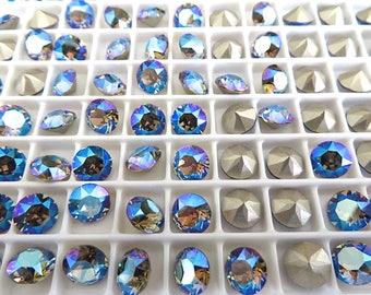 24 Black Diamond Shimmer Swarovski Crystal Chaton Stone 1088 29ss 6mm