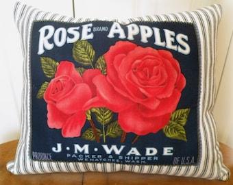 Vintage Apple Ad Farmhouse Pillow Blue Ticking stripe Porch pillow Prairie Prim ECS RDT SVFteam, RDT, OFGteam, FVGteam