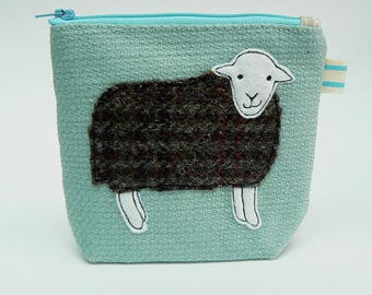 Herdwick sheep applique zipped pouch, notions pouch, small make-up bag