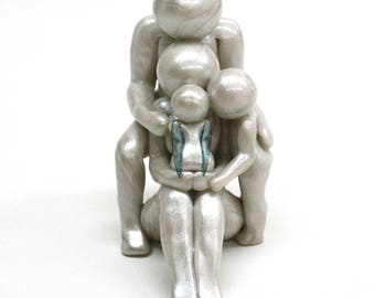 Baby Angel Family Legacy Sculpture - gift for pregnancy and infant loss - custom family of four 4 with angel baby - made to order