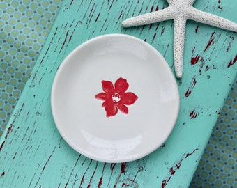 Flower on Small Round Dish, Trinket Dish with Bright Coral Flower