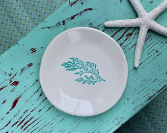 Aqua Sprig of Cedar on Round Dish, Branch Ring Dish, Trinket Dish with Cedar Sprig