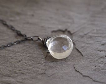 Rock Crystal Necklace - Quartz Necklace - April Necklace - Teardrop Necklace - Quartz Pendant - Oxidized Sterling Silver Necklace