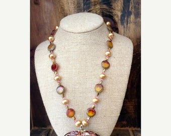JULY SALE EVENT Beaded Necklace with a Unique Styled Pendant - Gift Idea - Mother's Day Gift Idea - Mother's Day - Mother - Mom