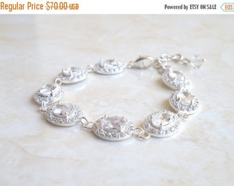 Summer Sale Bridal Bracelet Oval CZ Silver Halo CNB10