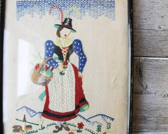 Early American Vintage Needlepoint, Wall Decor,Framed Artwork,Early Settlers, Vintage needlepoint,Framed Embroidery Print,