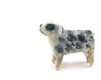 little dog - miniature blue merle australian shepherd - terrarium miniatures