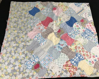 Vintage Hand Quilted Feedsack Fabric Spool Variation Cutter Quilt Piece