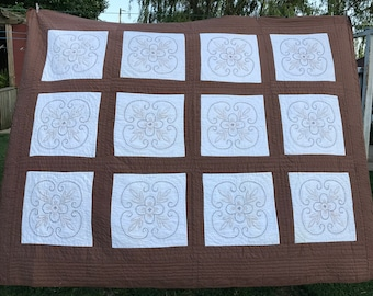 Vintage Hand Quilted Brown and White with Hand EMbroidery Cross Stitch Flowers Quilt