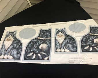 Vintage VIP Cranston Print Works Blue/Grey Cats to Stuff and Sew in Two Sizes