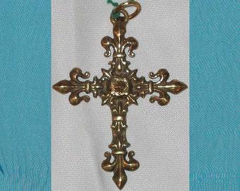 Large Ornate French Art Nouveau Fleur De Lis Cross Bronze Pendant