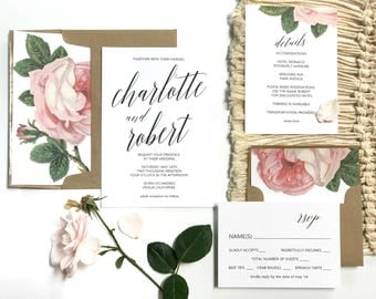 Floral Wedding invitation, Vintage Invitation, Botanical, Pink Rose Invitation, Romantic Invitation, Handwritten Invitations, Bat Mitzvah