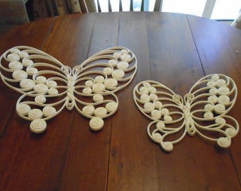 Set of 2 off white sirocco, sirocco butterflies, wall hanging,  roman numerals 1975 and 1976 markings, Burrwood Products Company